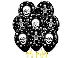 Sempertex 30cm Skeleton Design on Fashion Black Latex Balloons, 12PK
