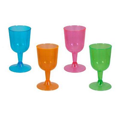 Neon Wine Glasses Assorted Colours Plastic 296ml