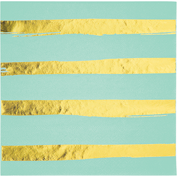 Touch of Colour Fresh Mint & Gold Foil Striped Lunch Napkins