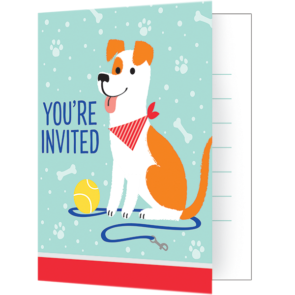Dog Party Invitations Foldover Style 10cm x 13cm