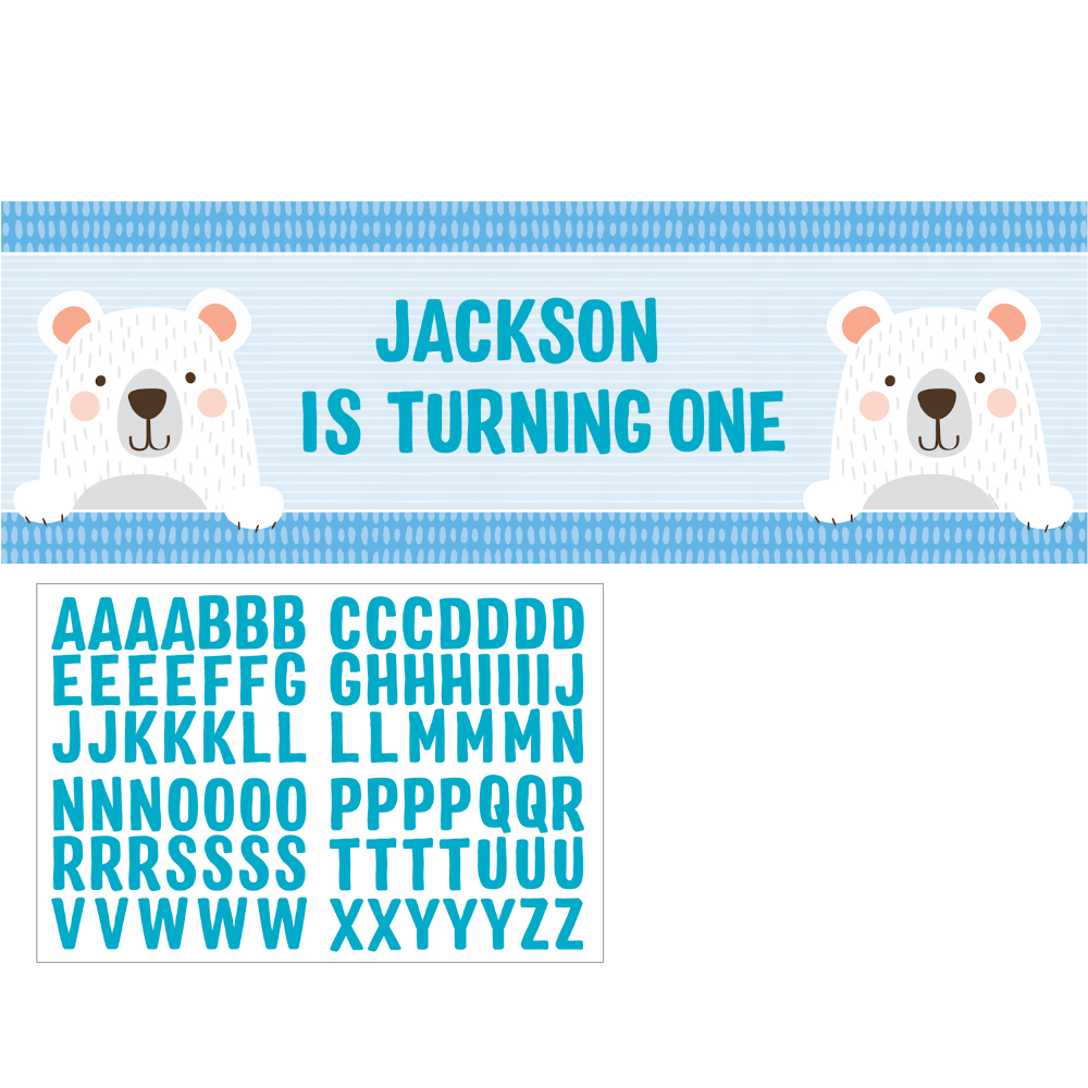 1st Birthday Bear Giant Party Banner Personalize It