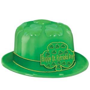 Happy St Patrick's Day Shamrock Derby Plastic Hat