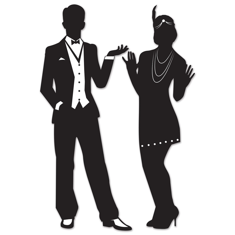 Great 20's Male & Female Black Silhouettes Cutouts
