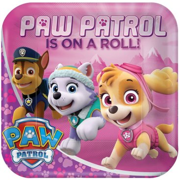 Paw Patrol Girl 23cm Square Plates