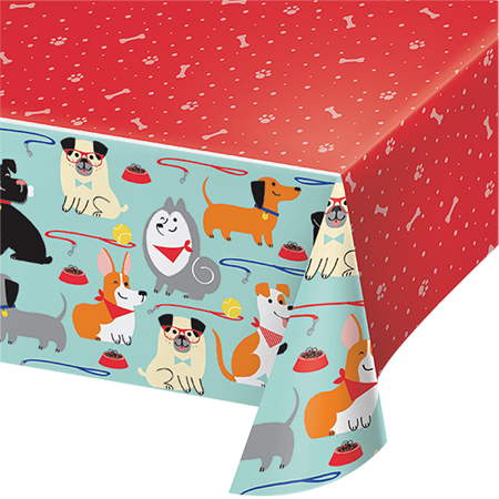 Dog Party Tablecover Plastic All Over Print 137cm x 259cm