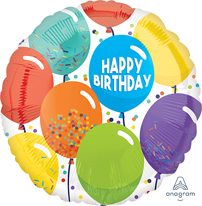 45cm Standard HX Happy Birthday Celebration Balloons S40