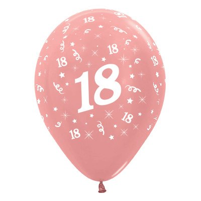 Sempertex 30cm Age 18 Metallic Rose Gold Latex Balloons, 6PK