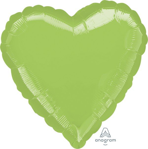45cm Standard HX Heart Metallic Lime Green S15