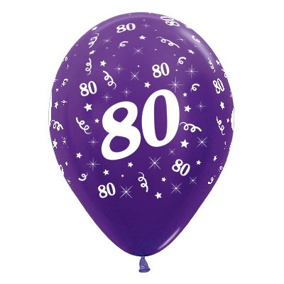 Sempertex 30cm Age 80 Metallic Purple Violet Latex Balloons, 25PK