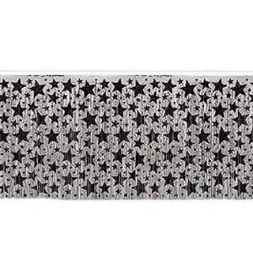 Table Skirt Silver with Black Stars
