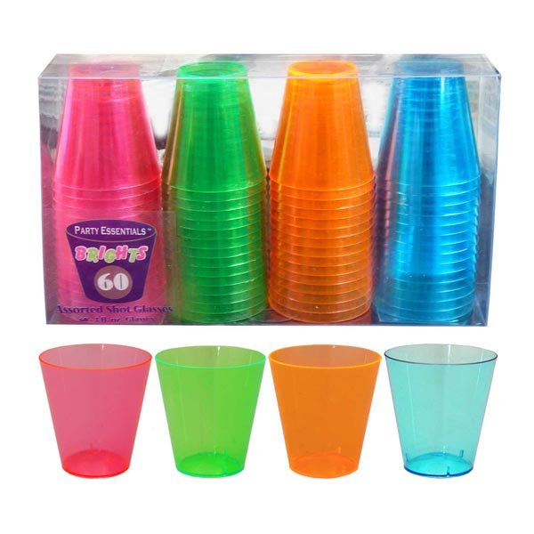 Shot Glasses Neon Assorted Plastic