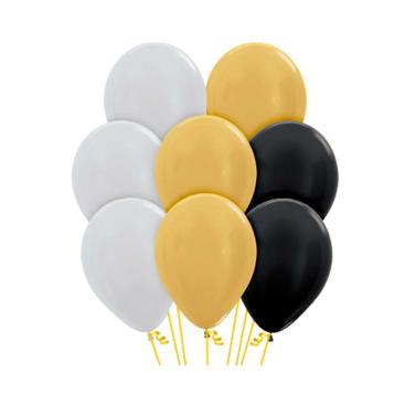 Sempertex 30cm Assorted Metallic Silver, Gold & Black Latex Balloons PK12