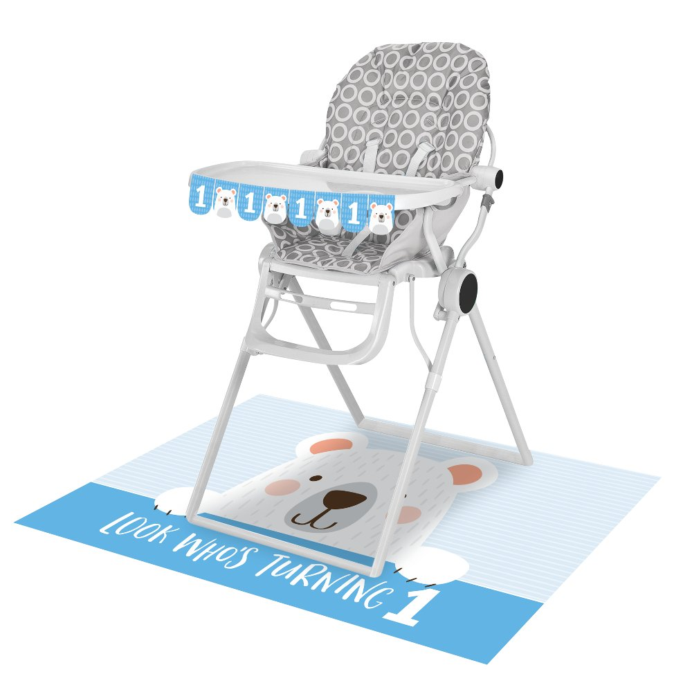 1st Birthday Bear High Chair Kit Look Who's One