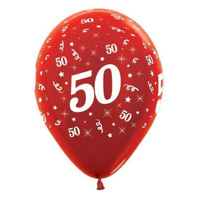 Sempertex 30cm Age 50 Metallic Red Latex Balloons, 25PK