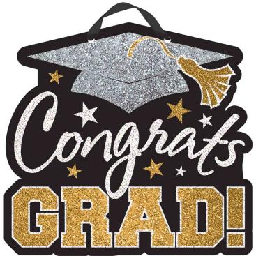Congrats Grad Glitter Sign MDF Black, Silver & Gold