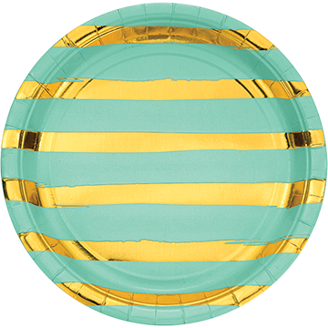 Touch of Colour Fresh Mint & Gold Foil Striped Dinner Plates Paper 22cm