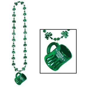 Happy St Patrick's Day Beer Mug & Shamrocks Beaded Necklace