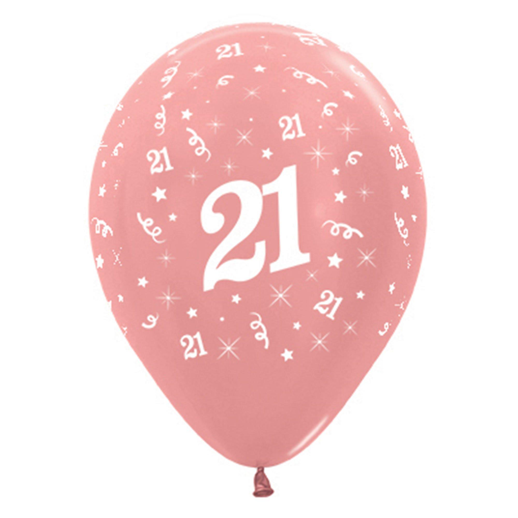 Sempertex 30cm Age 21 Metallic Rose Gold Latex Balloons, 6PK