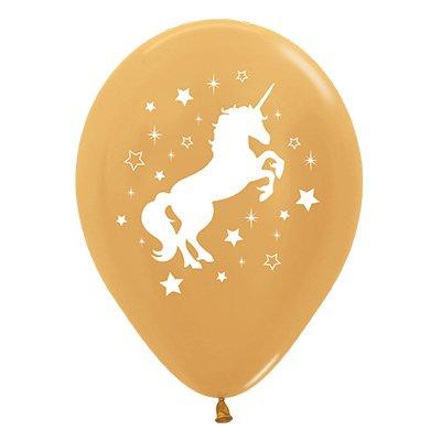 Sempertex 30cm Unicorn Sparkles & Stars Metallic Gold Latex Balloons, 25PK