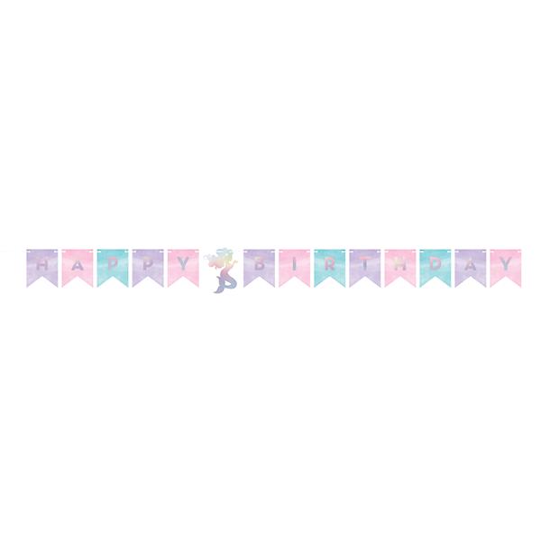 Mermaid Shine Iridescent Happy Birthday Shaped Banner