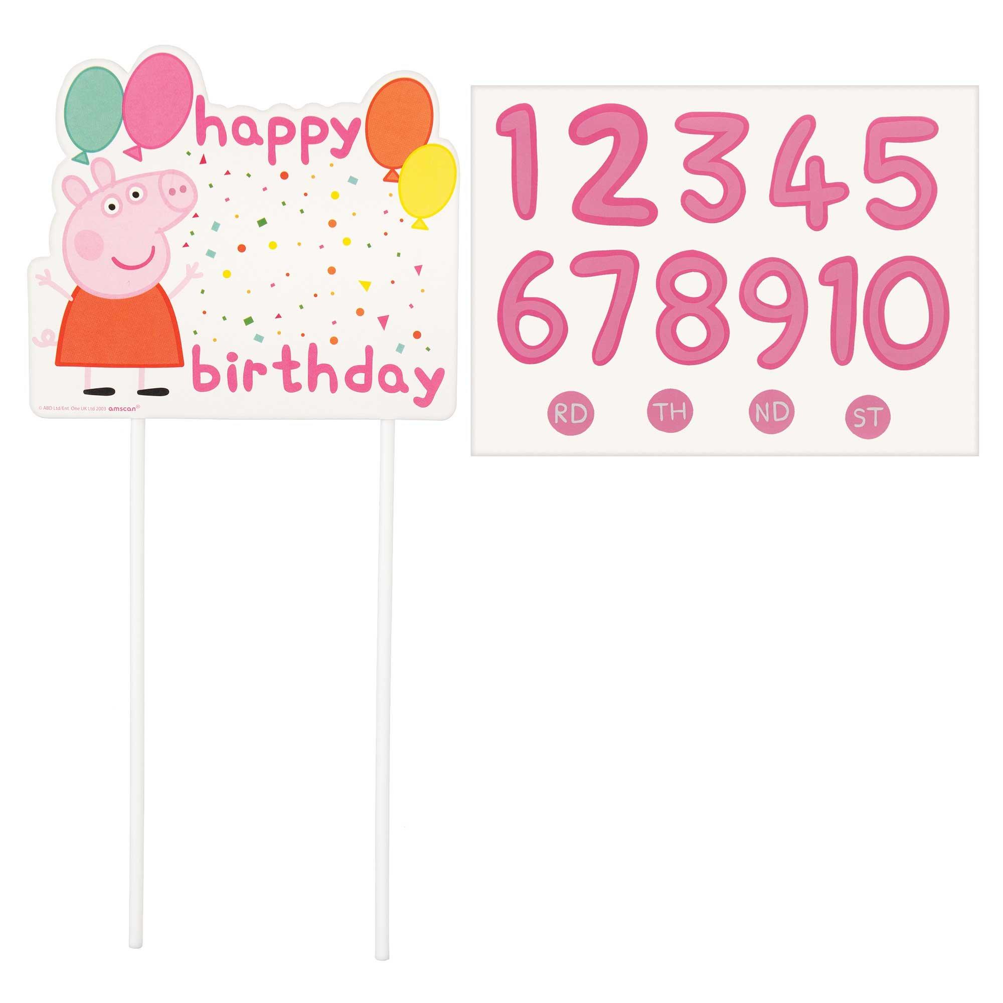 Peppa Pig Confetti Party Customizable Cake Topper Pick