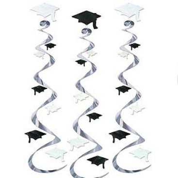 Graduation Caps Black & White Hanging Decoration Whirls