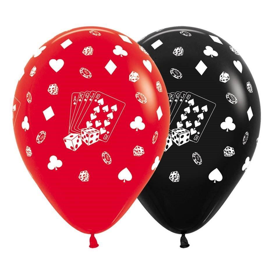 Sempertex 30cm Casino Cards & Suits Fashion Red & Black Latex Balloons, 12PK