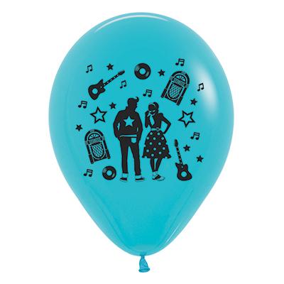 Sempertex 30cm Rock & Roll Theme Fashion Caribbean Blue Latex Balloons, 6PK