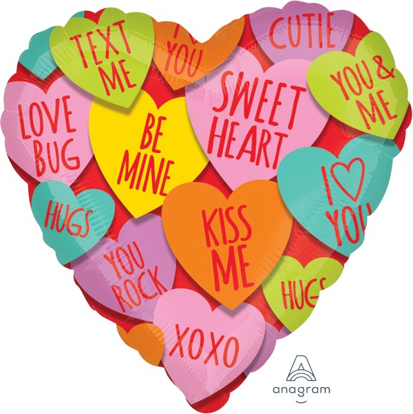 45cm Standard HX Hearts with Messages S40