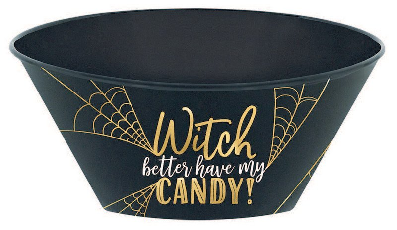 Witch Candy Serving Bowl Hot Stamped Plastic