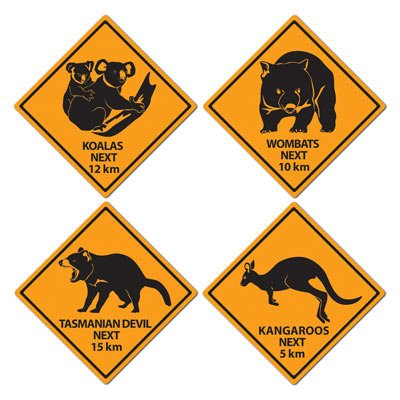 Australian Outback Road Signs Cutouts
