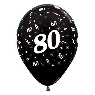 Sempertex 30cm Age 80 Metallic Black Latex Balloons, 25PK