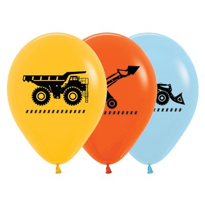 Sempertex 30cm Construction Trucks Fashion Yellow, Orange & Blue Latex Balloons, 25PK