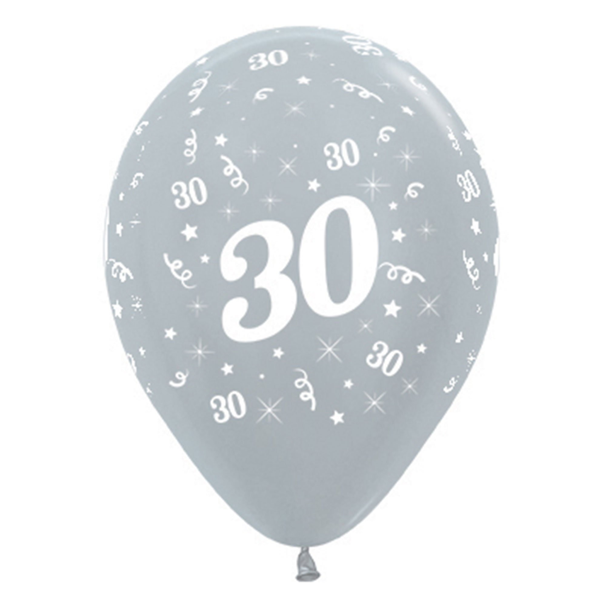 Sempertex 30cm Age 30 Satin Pearl Silver Latex Balloons, 6PK