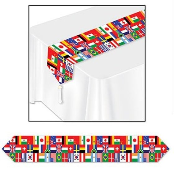 International Flags Table Runner & Tassels