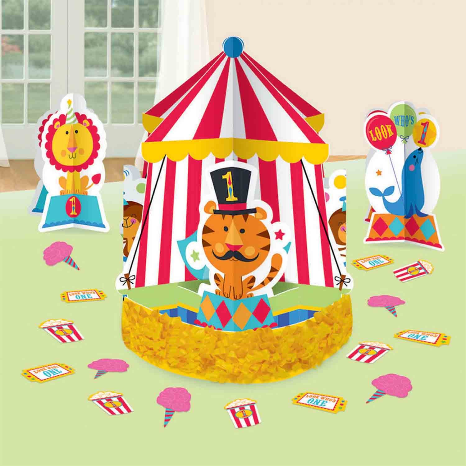 Fisher Price 1st Birthday Circus Table Decorations Kit