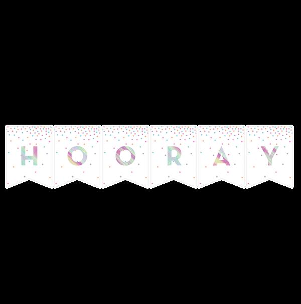 Iridescent Foil DIY Pennant Banner & Iridescent Letters 15cm x 2.74m