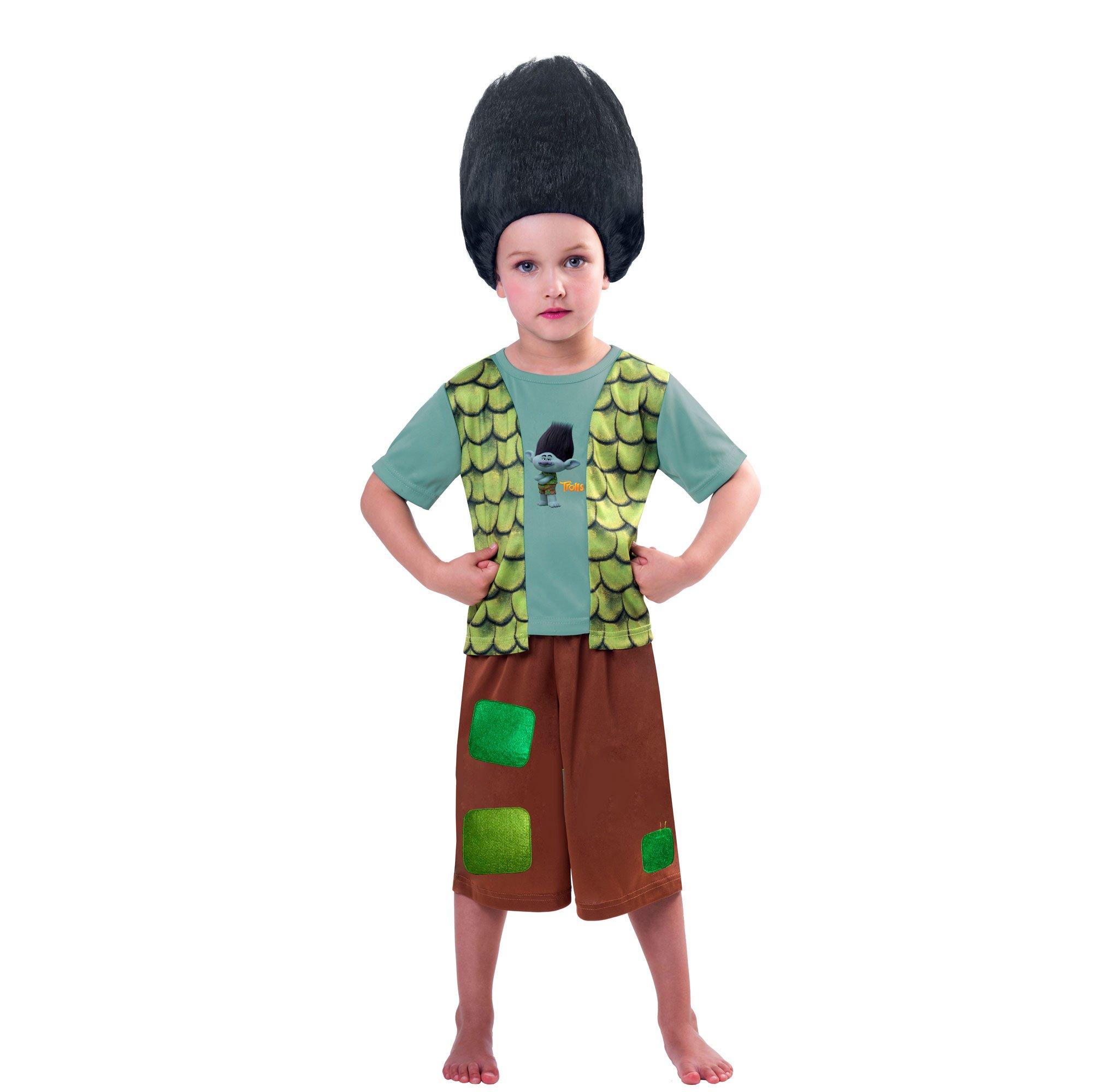 Trolls Boys Branch Costume & Wig 5-7yrs
