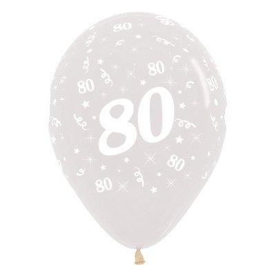 Sempertex 30cm Age 80 Crystal Clear Latex Balloons, 25PK