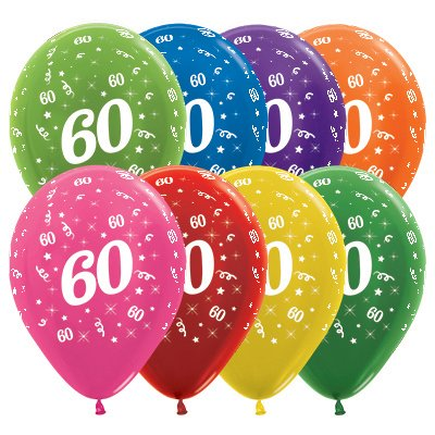 Sempertex 30cm Age 60 Metallic Assorted Latex Balloons, 25PK