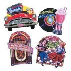 50's Jukebox, Car, Dancing & Record Cutouts