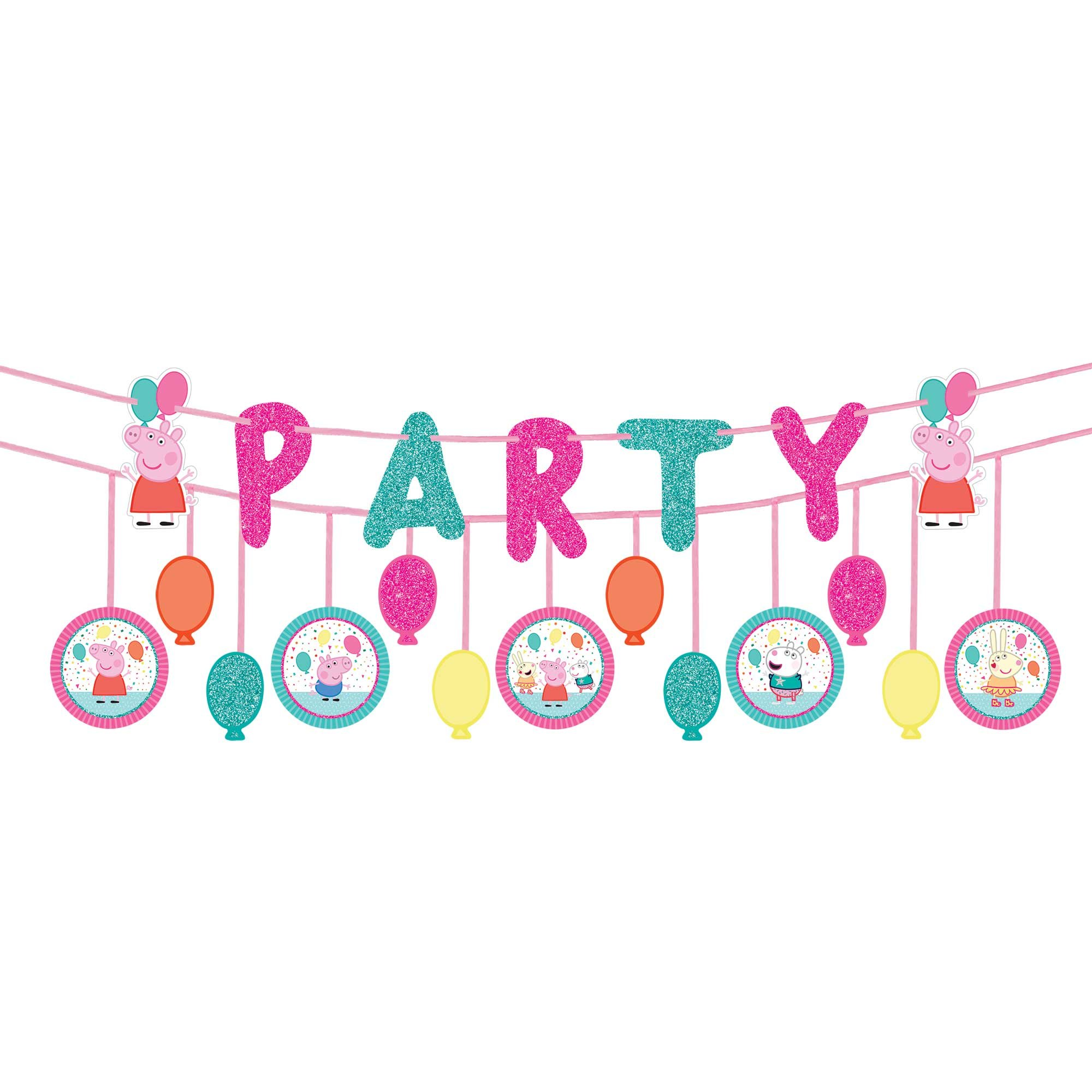 Peppa Pig Confetti Party Ribbon Banner Kit Glittered