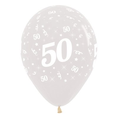 Sempertex 30cm Age 50 Crystal Clear Latex Balloons, 25PK