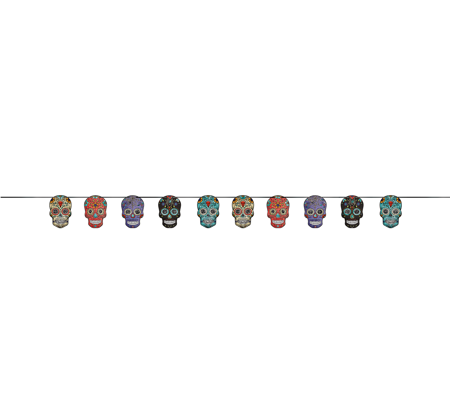 Sugar Skull Day of the Dead Hanging Garland Banner