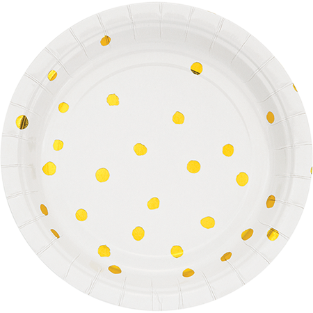 Touch of Colour White & Gold Foil Dots Lunch Plates Paper 18cm