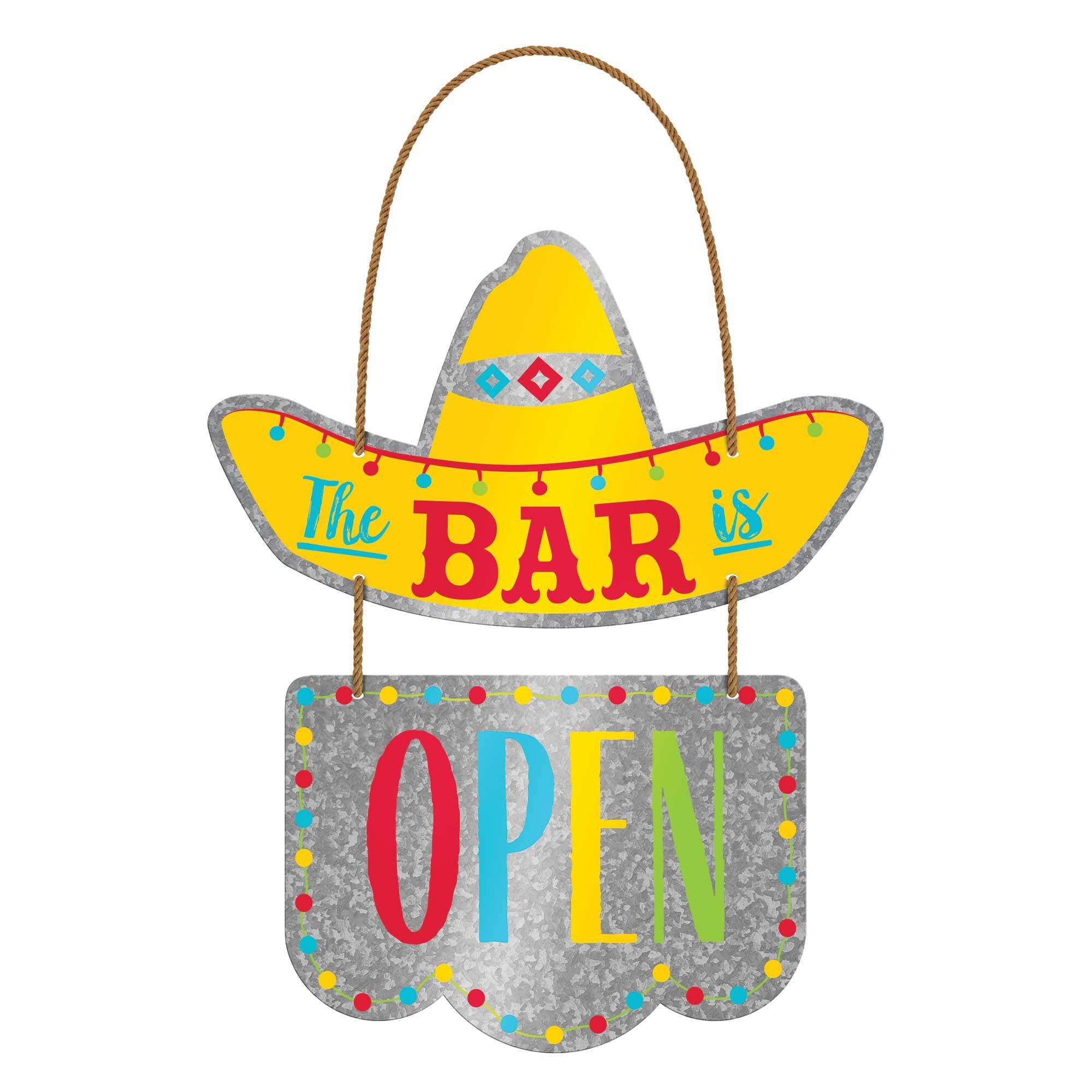 Fiesta Cinco 2 Tier Hanging Metal Sign & Rope Hanger The Bar is Open