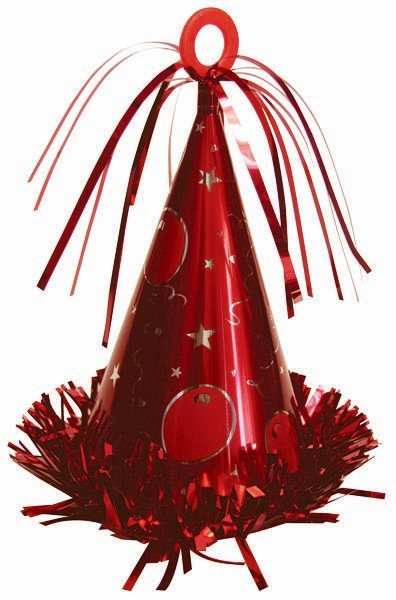 Party Hat Balloon Weight - Red