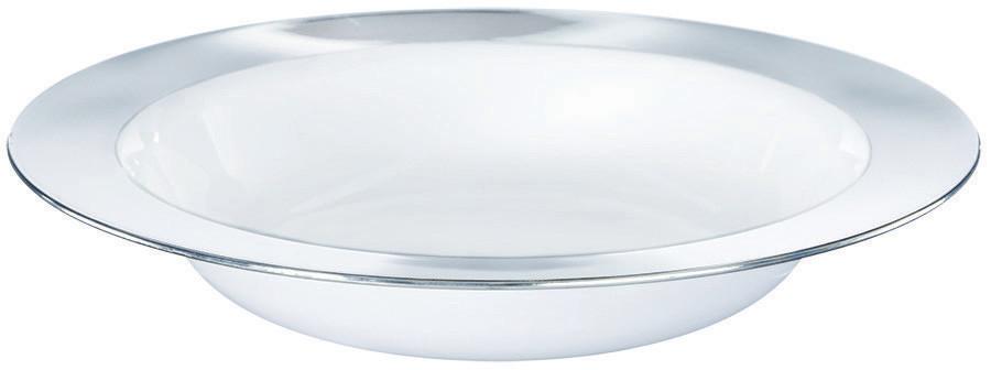 Premium Bowl 354ml White w/Silver Border
