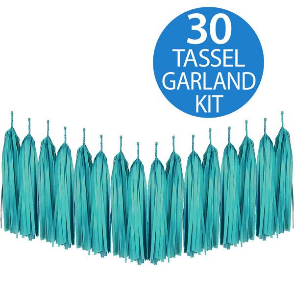 Tassel Garland Tissue Paper Teal Green