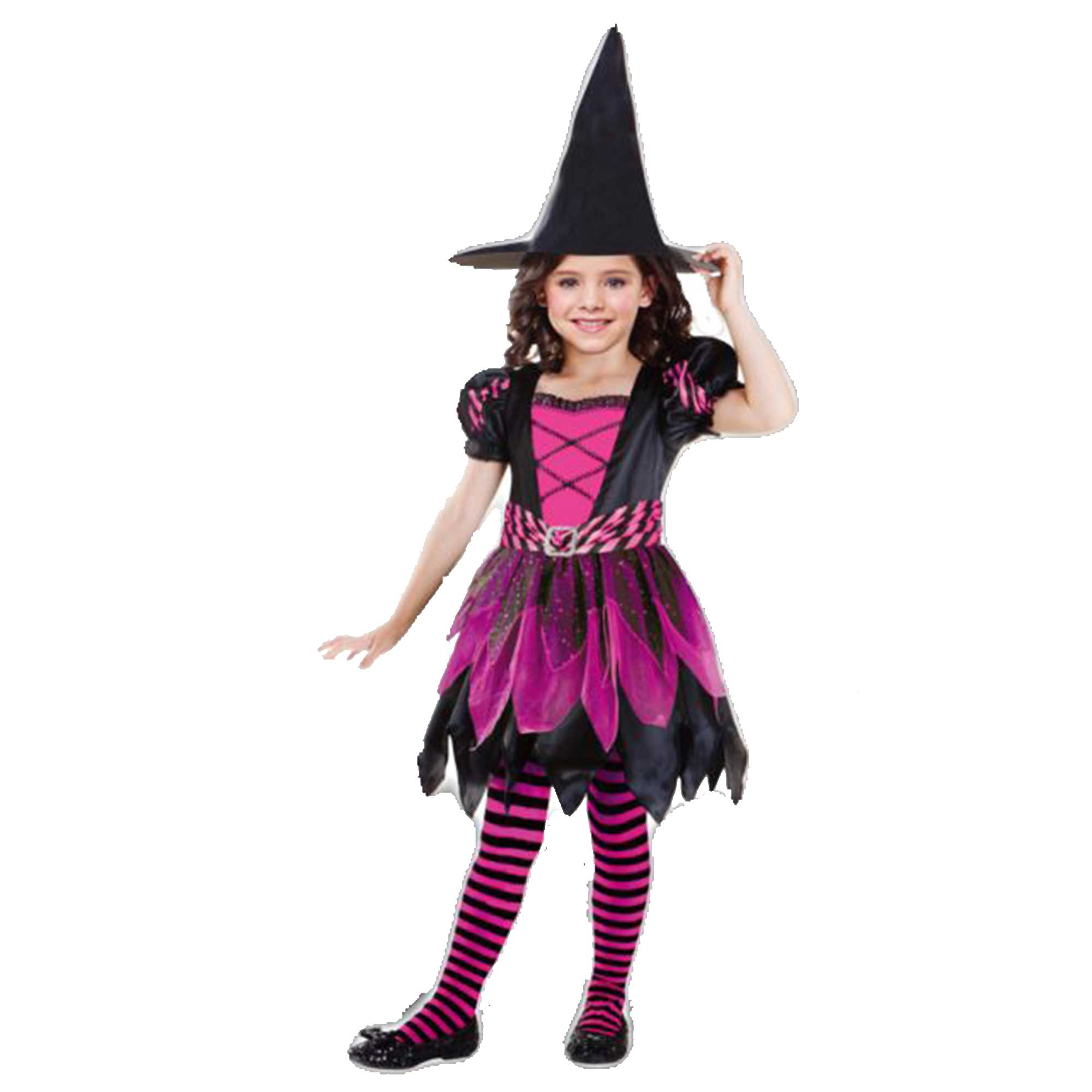 Costume Pink Glitter Witch Girls 5-7 Years